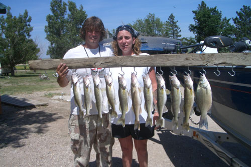 Oahe walleye fishing, pictured at Sunset Lodge