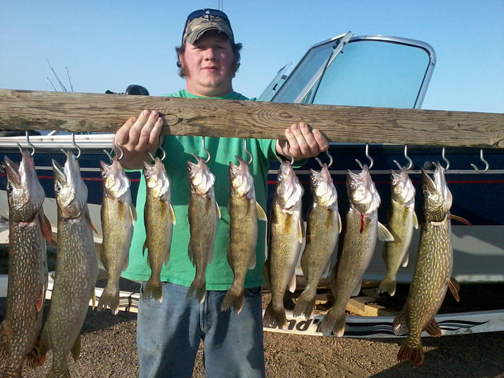 Friend Chad and I headed to the lake early spring on a scout trip and landed these dandy pike and walleye.