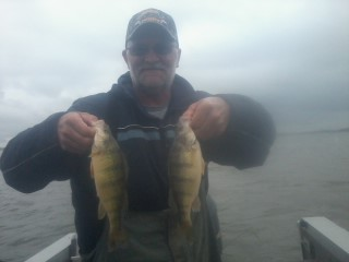 Brian posing a double-header on perch