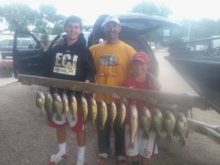 North Dakota father and sons with some crappie, walleye and perch