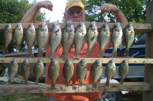 Another day with my dad as he muscled in a few crappie