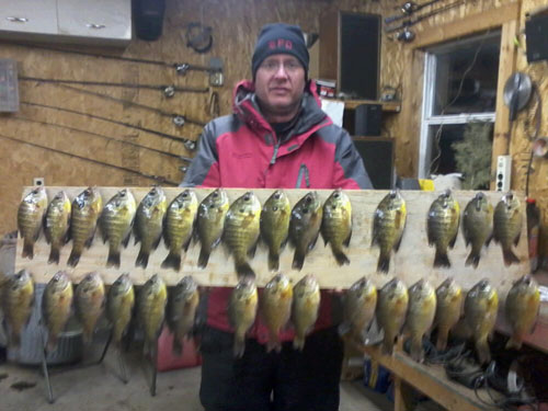 Todd, from Brookings and I ice fished Lake Menno with waxies and had a great day