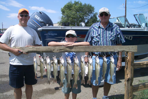 South of Fort Pierre bridge, we caught these with plain hooks and minnows